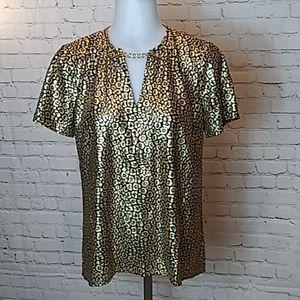 Michael Kors gold foil blouse